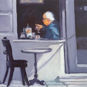 cafe table / Oil on Panel / 6 x 6 Inches ©JohnFarnsworth