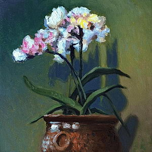 Chinese Flowers . Oil on Panel / 6 x 6 Inches ©JohnFarnsworth