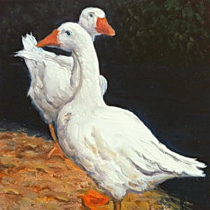 Geese at El Encanto / Oil on Panel / 6 x 6 Inches / ©JohnFarnsworth