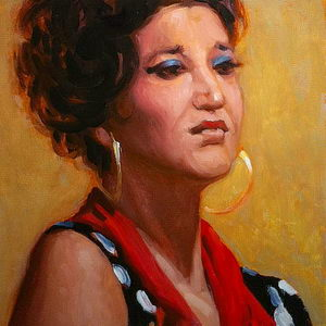 Flamenco Dancer / Oil on Panel / 6 x 6 inches / ©JohnFarnsworth