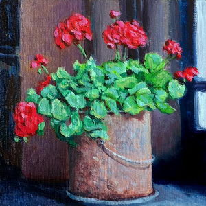 Geraniums in a Rusty Bucket / Oil on Panel / 6 x 6 Inches ©JohnFarnsworth