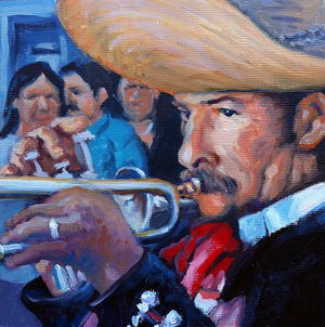 Mariachi / Oil on Panel / 6 x 6 Inches ©JohnFarnsworth