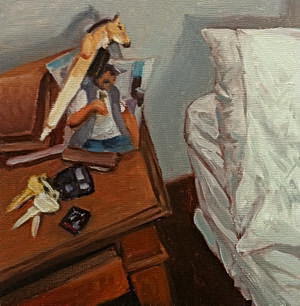 Nightstand / Oil on Panel / 6 x 6 Inches ©JohnFarnsworth