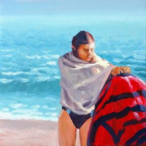 Beach Towel / Oil on Panel / 6 x 6 Inches ©JohnFarnsworth