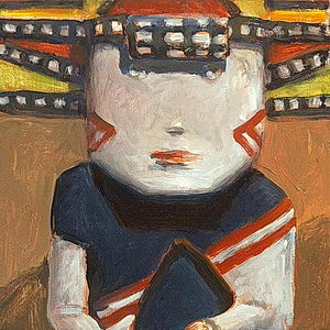 Hopi Butterfly Maiden / Oil on Panel / 6 x 6 Inches ©JohnFarnsworth