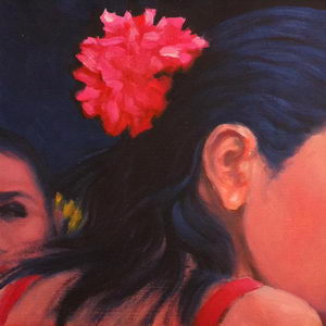 Glance (Flamenco Dancers) / Oil on Panel / 6 x 6 Inches ©JohnFarnsworth
