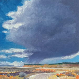 Rainstorm Near Gallup / Oil on Panel / 6 x 6 Inches ©JohnFarnsworth