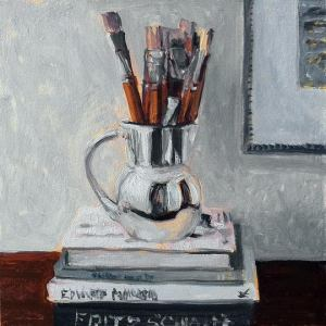 Still Life with Brushes and Books / Oil on Panel / 6 x 6 Inches ©JohnFarnsworth