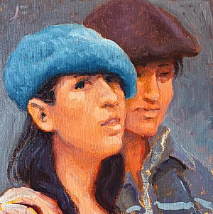Study of a Young Argentine Couple / Oil on Panel / 6 x 6 Inches ©JohnFarnsworth