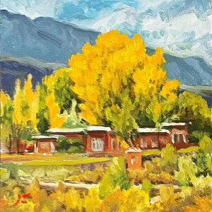 Taos Autumn / Oil on Panel / 6 x 6 Inches ©JohnFarnsworth