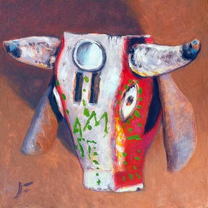 Mexican Bull Dance Mask / Oil on Panel / 6 x 6 Inches ©JohnFarnsworth