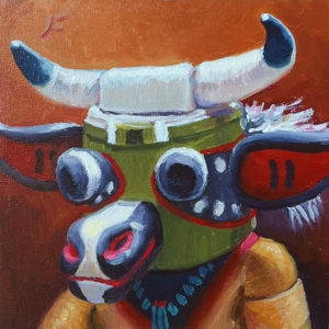 Happy Cow Kachina (Wakas) / Oil on Panel / 6 x 6 Inches ©JohnFarnsworth