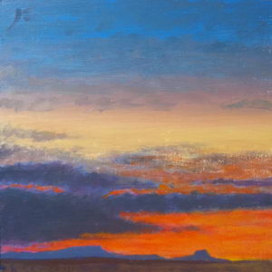 Taos Sunset with Pedernal / Oil on Panel / 6 x 6 Inches ©JohnFarnsworth