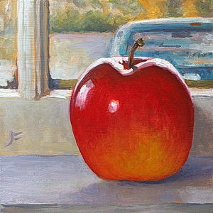 An Apple and a Blue Truck / Oil on Panel / 6 x 6 Inches ©JohnFarnsworth
