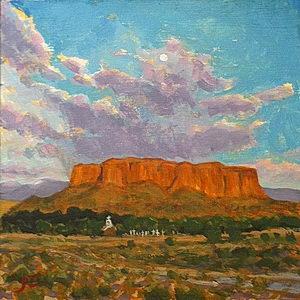 Sunset/Moonrise-Black Mesa / Oil on Panel / 6 x 6 Inches ©JohnFarnsworth