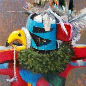 Kwavahu (Eagle Dancer Kachina) / Oil on Panel / 6 x 6 Inches ©JohnFarnsworth