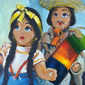 Mexican Peon Dolls / Oil on Panel / 6 x 6 Inches ©JohnFarnsworth