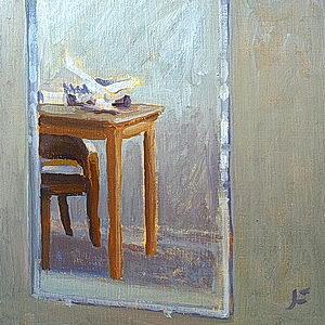 Still Life with Mirror / Oil on Panel / 6 x 6 Inches ©JohnFarnsworth