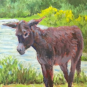 Sacred Valley Burro / Oil on Panel / 6 x 6 Inches ©JohnFarnsworth