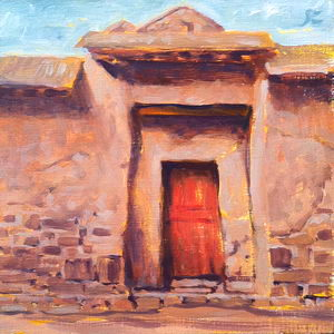 Red Door at Ollantaytambo / Oil on Panel / 6 x 6 Inches ©JohnFarnsworth