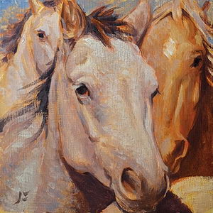 Running Horses / Oil on Panel / 6 x 6 Inches