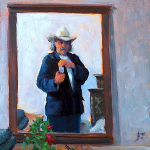 Self Portrait in a Mexican Hotel / Oil on Panel / 6 x 6 Inches ©JohnFarnsworth