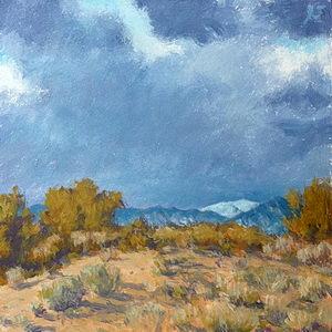 Snow on the Sangre de Cristo Mountains / Oil on Panel / 6 x 6 Inches ©JohnFarnsworth