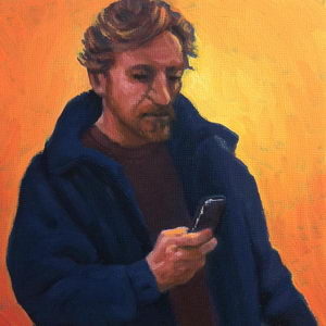 Texting / Oil on Panel / 6 x 6 Inches ©JohnFarnsworth