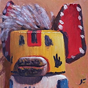 Wolfie, Again (Wolf Kachina) / Oil on Panel / 6 x 6 Inches ©JohnFarnsworth