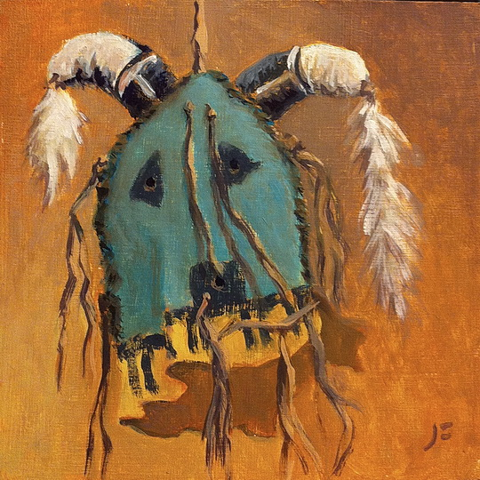 Navajo Yei Mask (Humpback) / Oil on Panel / 6 x 6 Inches ©John Farnsworth