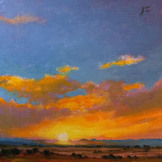 La Bajada Sunset / Oil on Panel / 6 x 6 Inches ©JohnFarnsworth
