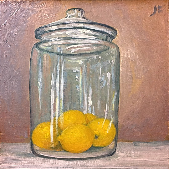 Lemons in a glass jar daily painting 113 a farnsworth a day for How to stain glass jars with paint