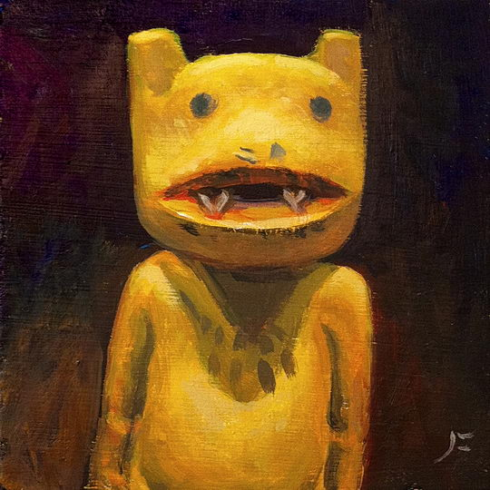 Old Wolf Kachina / Oil on Panel / 6 x 6 Inches ©JohnFarnsworth
