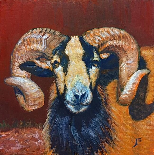 Golden Ram / Oil on Panel / 6 x 6 Inches ©John Farnsworth