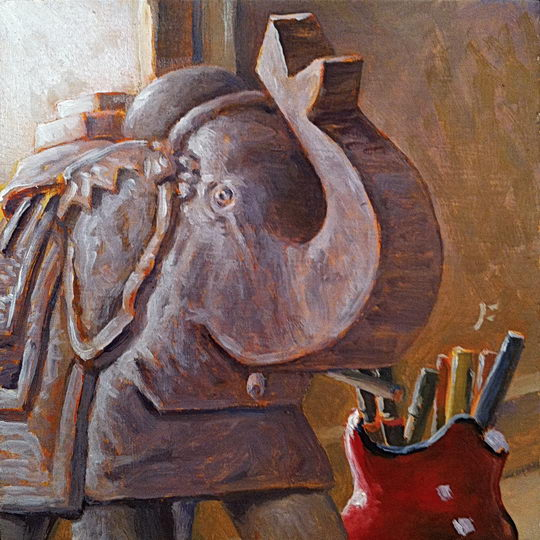 Elephant and Pens / Oil on Panel / 6 x 6 Inches ©JohnFarnsworth