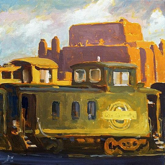 Caboose (Santa Fe Railyard II) / Oil on Canvas  / 6 x 6 Inches ©JohnFarnsworth