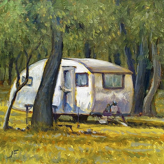 Camp Trailer / Oil on Panel / 6 x 6 Inches ©JohnFarnsworth