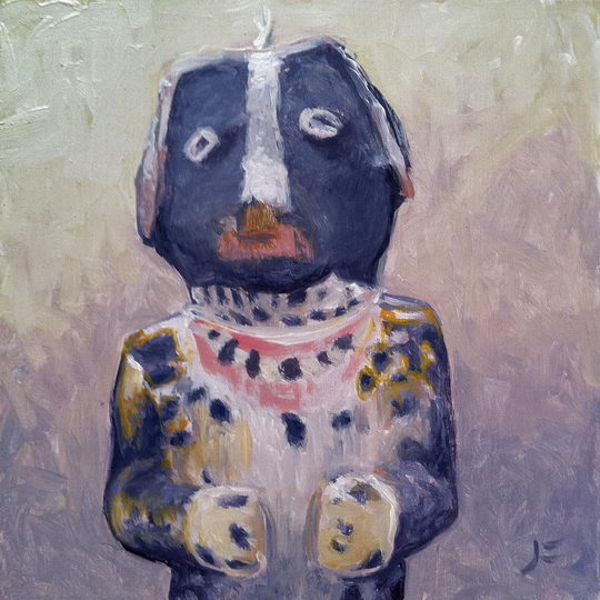 Dog Kachina / Oil on Panel / 6 x 6 Inches ©JohnFarnsworth