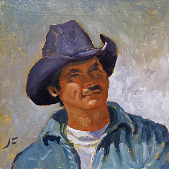 Papago Cowboy / Oil on Panel / 6 x 6 Inches ©JohnFarnsworth