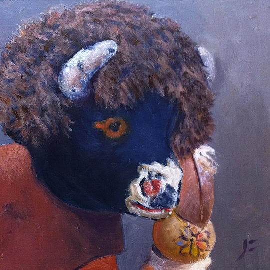 Baby Buffalo Kachina / Oil on Panel / 6 x 6 Inches ©John Farnsworth