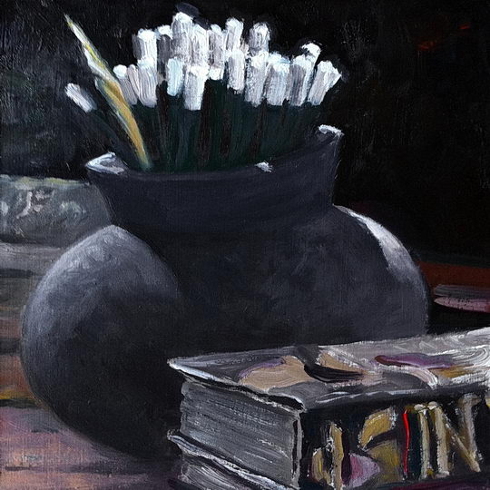 Pencils in Backlight / Oil on Panel / 6 x 6 Inches ©John Farnsworth