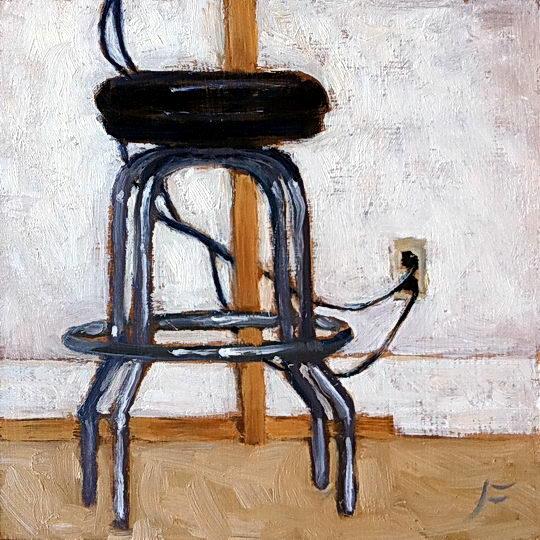 Studio Stool / Oil on Panel / 6 x 6 Inches ©John Farnsworth