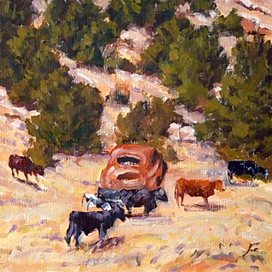 A Car and Some Cows / Oil on Panel / 6 x 6 Inches / ©John Farnsworth