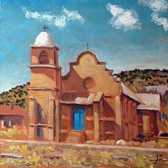 Church at Lamy / Oil on Panel / 6 x 6 Inches / ©John Farnsworth