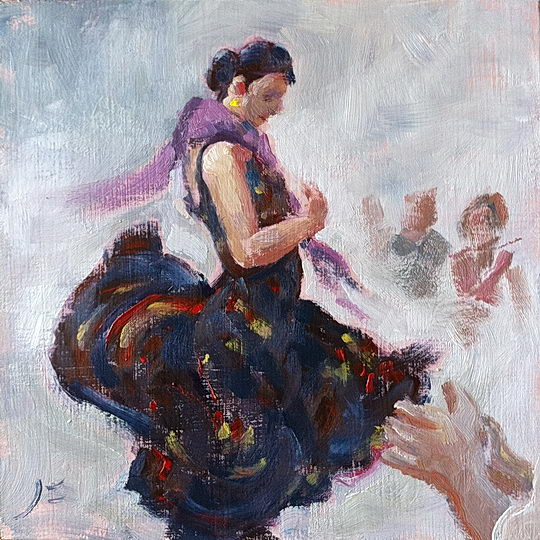 Flamenco / Oil on Panel / 6 x 6 Inches / ©John Farnsworth