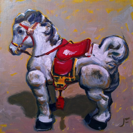 Scooter Pony / Oil on Panel / 6 x 6 Inches / ©John Farnsworth