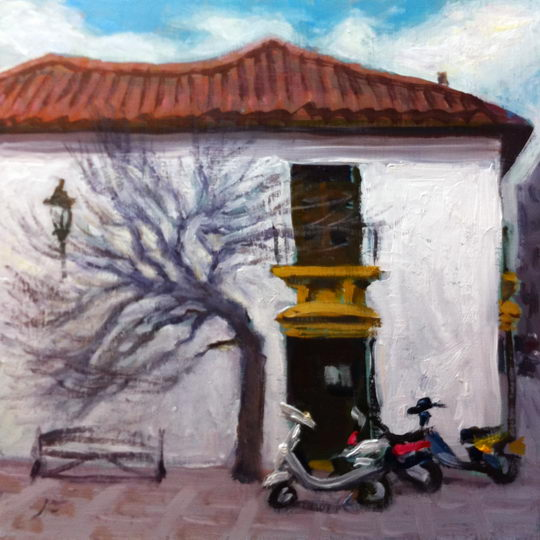 Scooters in Ronda / Oil on Panel / 6 x 6 Inches / ©John Farnsworth