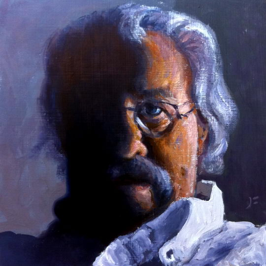 Self in Sidelight / Oil on Panel / 6 x 6 Inches / ©John Farnsworth