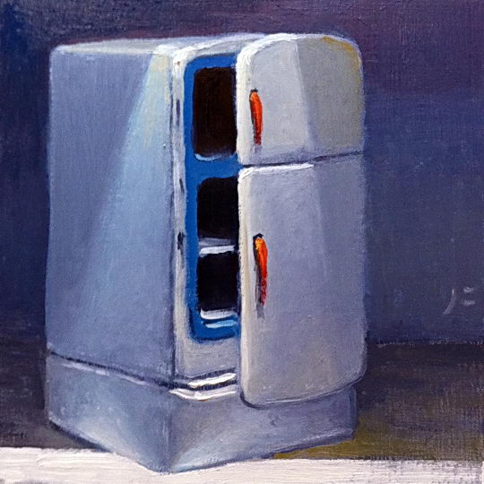 Toy Refrigerator / Oil on Panel / 6 x 6 Inches / ©John Farnsworth