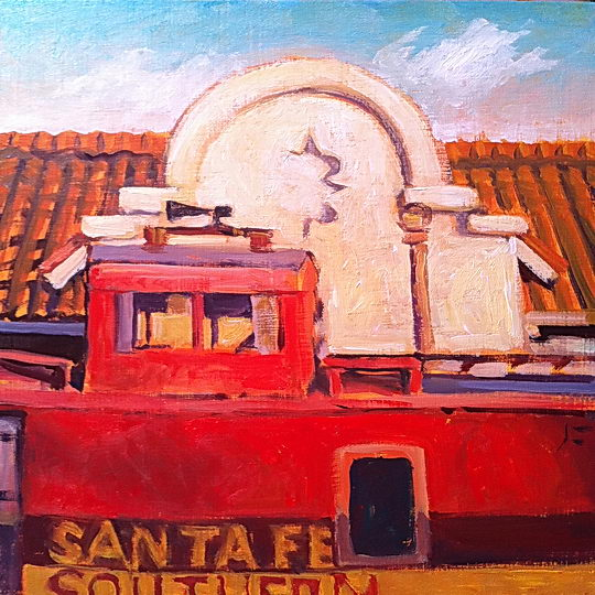 Caboose at Santa Fe / Oil on Panel / 6 x 6 Inches / ©John Farnsworth